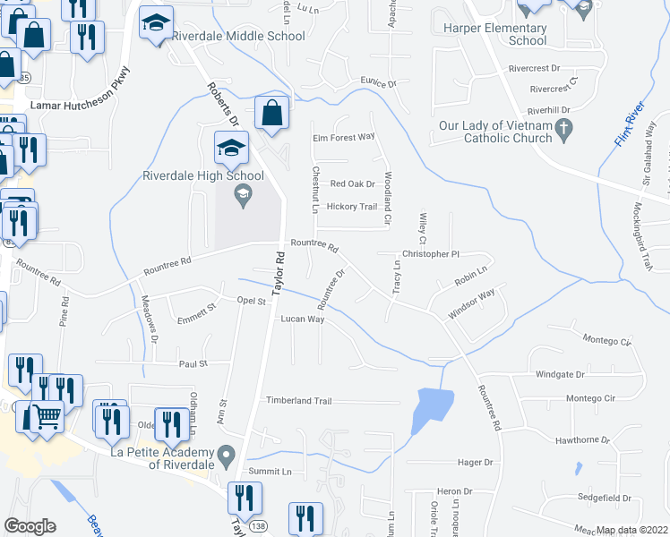 map of restaurants, bars, coffee shops, grocery stores, and more near 7323 Rountree Drive in Riverdale