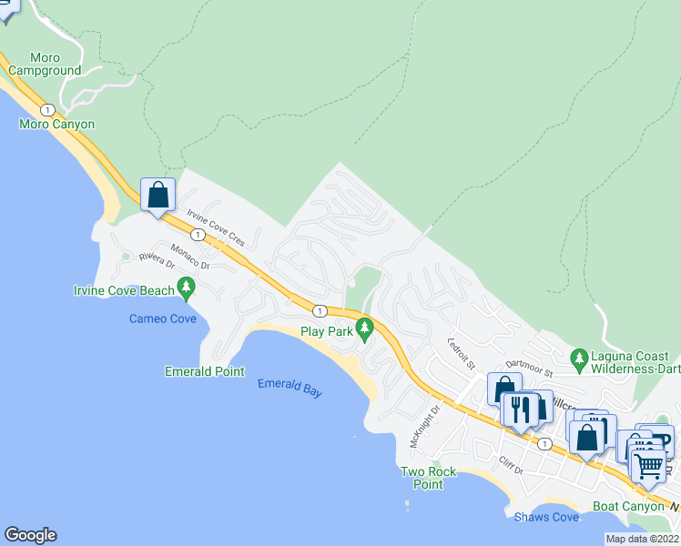 map of restaurants, bars, coffee shops, grocery stores, and more near 935 Emerald Bay in Laguna Beach