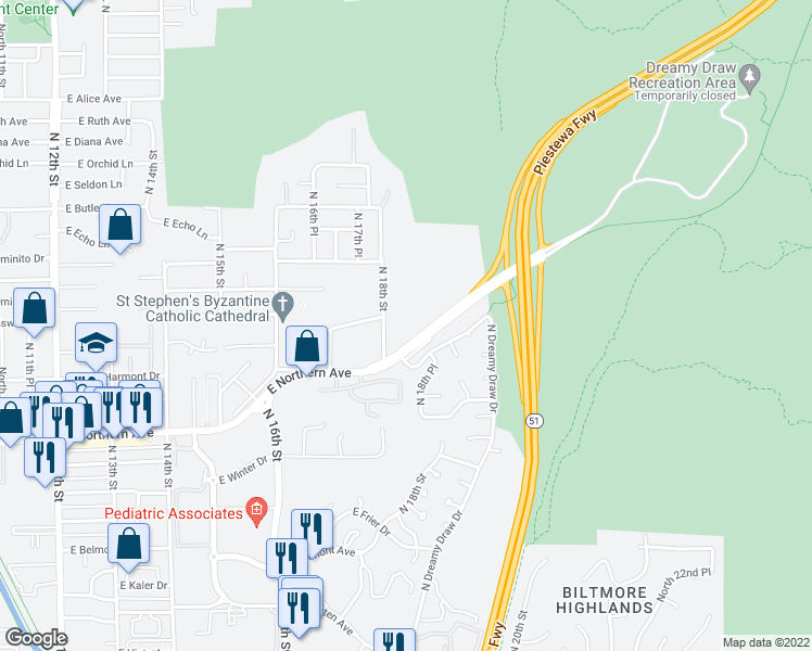 map of restaurants, bars, coffee shops, grocery stores, and more near 8115 North 18th Street in Phoenix