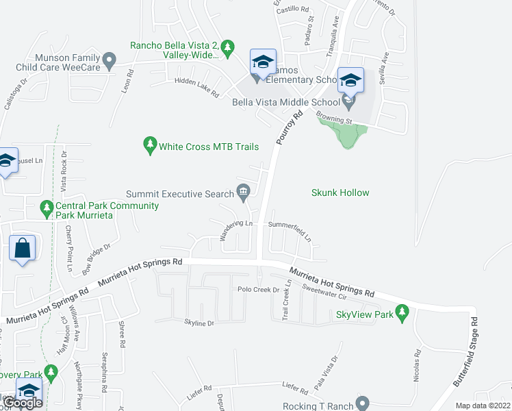 map of restaurants, bars, coffee shops, grocery stores, and more near 31488 Creek Side Court in Murrieta
