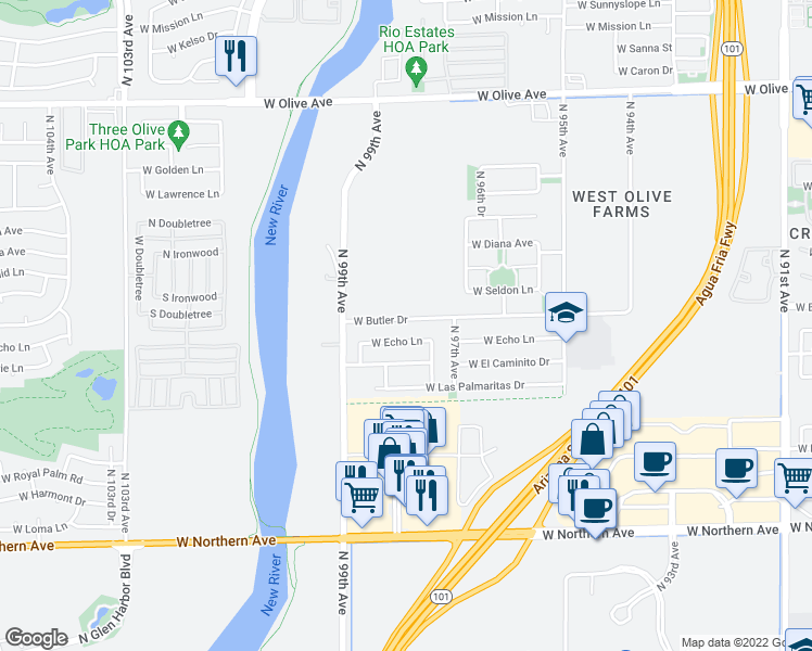map of restaurants, bars, coffee shops, grocery stores, and more near 9791 West Butler Drive in Peoria