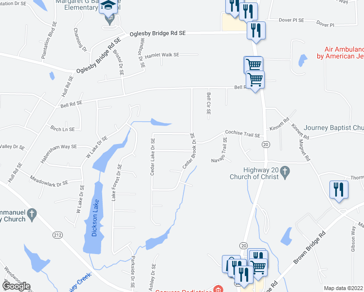 map of restaurants, bars, coffee shops, grocery stores, and more near 808 Greenwood Trail Southeast in Conyers