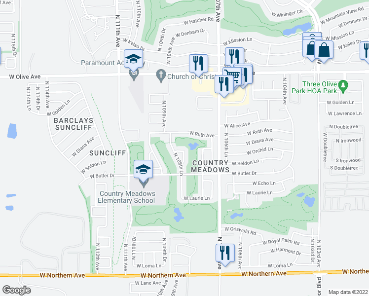 map of restaurants, bars, coffee shops, grocery stores, and more near 10826 West Diana Avenue in Peoria