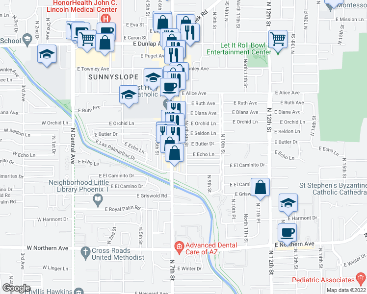 map of restaurants, bars, coffee shops, grocery stores, and more near 8342 North 8th Street in Phoenix