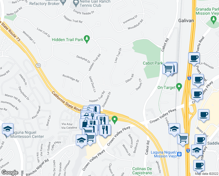 map of restaurants, bars, coffee shops, grocery stores, and more near 27796 Hidden Trail Road in Laguna Hills