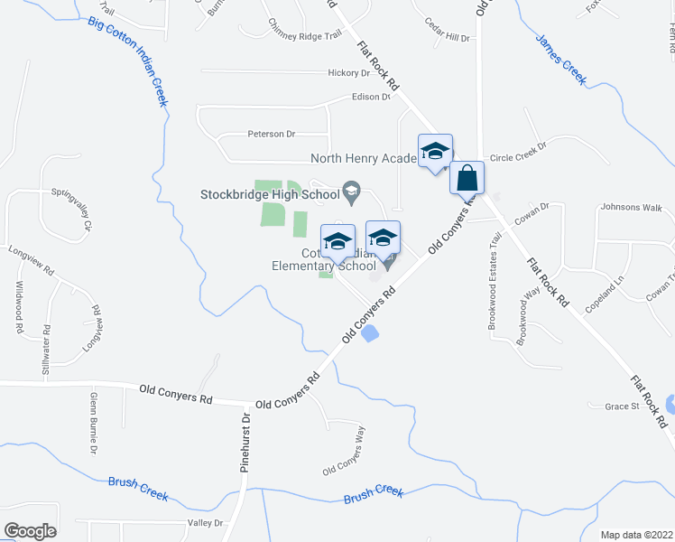map of restaurants, bars, coffee shops, grocery stores, and more near 1151 Old Conyers Road