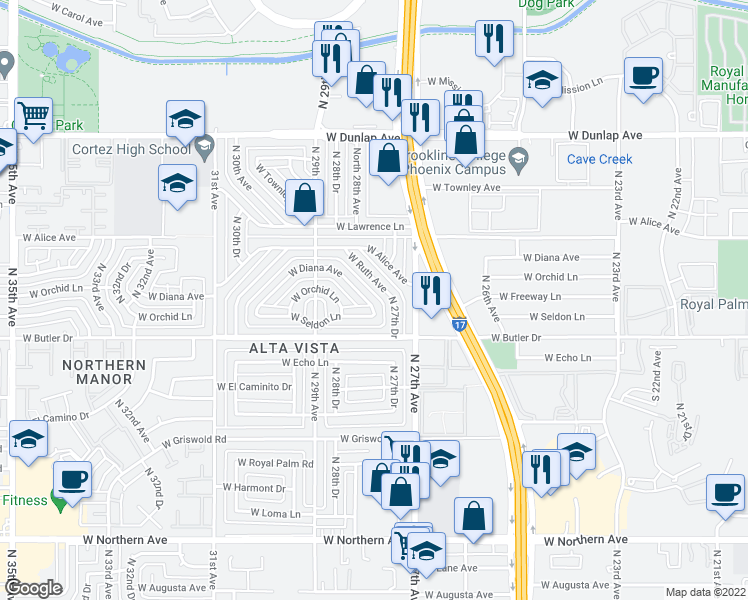 map of restaurants, bars, coffee shops, grocery stores, and more near 2814 West Diana Avenue in Phoenix