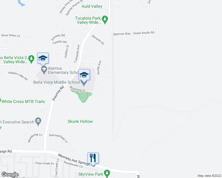 map of restaurants, bars, coffee shops, grocery stores, and more near 38470 Magdelena Street in Murrieta