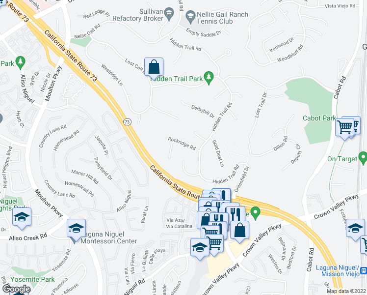 map of restaurants, bars, coffee shops, grocery stores, and more near 25246 Rockridge Road in Laguna Hills