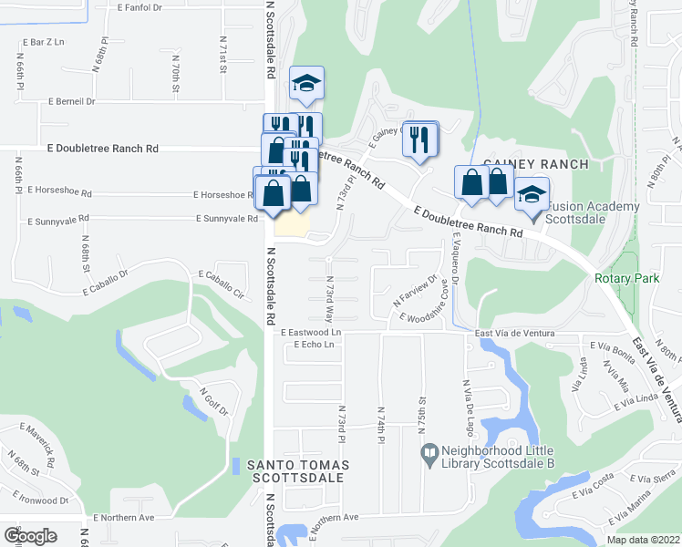 map of restaurants, bars, coffee shops, grocery stores, and more near 7358 East Woodsage Lane in Scottsdale