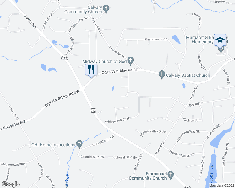 map of restaurants, bars, coffee shops, grocery stores, and more near 4314 Derbyshire Trce Southeast in Conyers