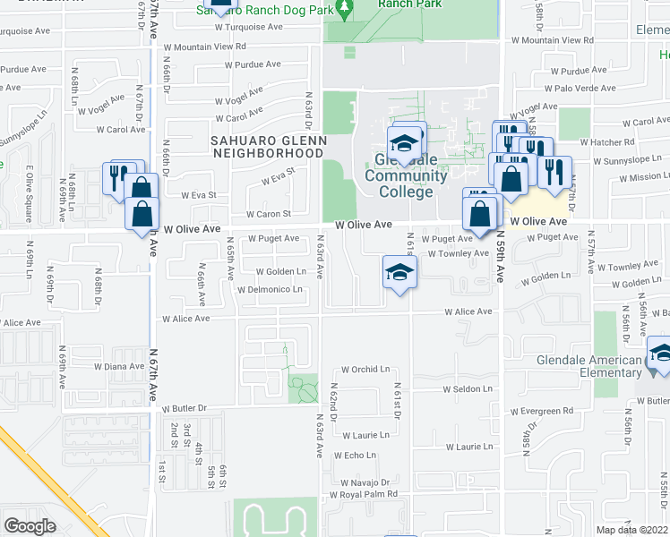 map of restaurants, bars, coffee shops, grocery stores, and more near 6201 West Olive Avenue in Glendale