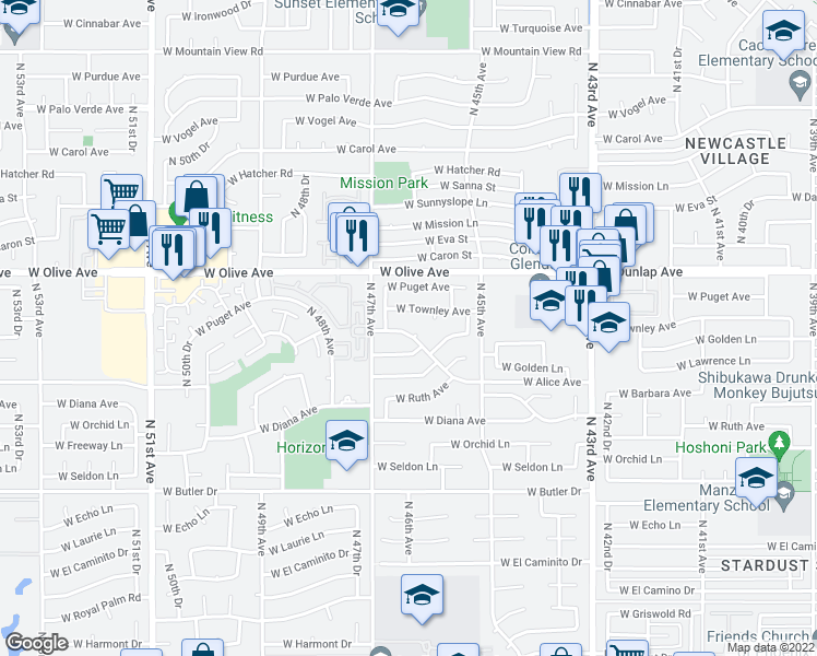 map of restaurants, bars, coffee shops, grocery stores, and more near 4622 West Alice Avenue in Glendale