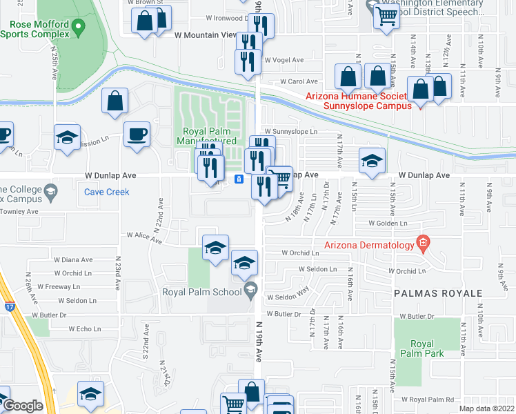 map of restaurants, bars, coffee shops, grocery stores, and more near 8831 North 19th Avenue in Phoenix