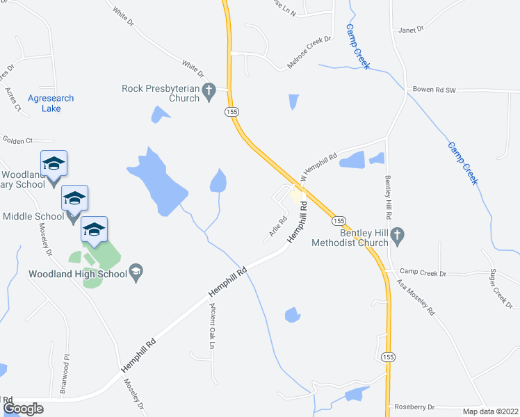 map of restaurants, bars, coffee shops, grocery stores, and more near 4401 Georgia 155 North in Stockbridge