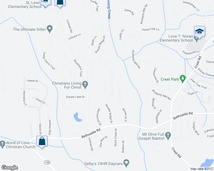 map of restaurants, bars, coffee shops, grocery stores, and more near 7079 Merrywood Drive in Fairburn