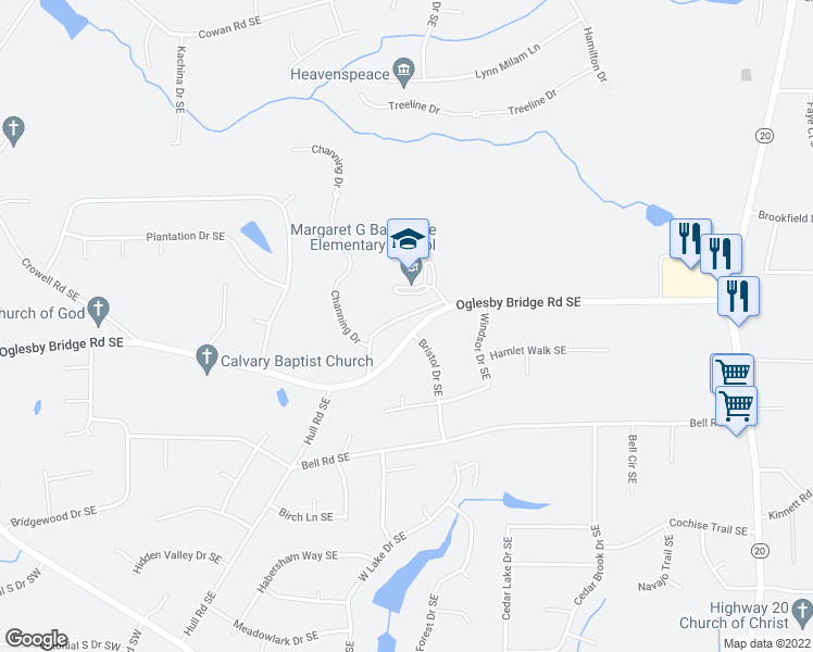 map of restaurants, bars, coffee shops, grocery stores, and more near 570 Oglesby Bridge Road Southeast in Conyers
