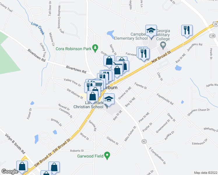 map of restaurants, bars, coffee shops, grocery stores, and more near in Fairburn