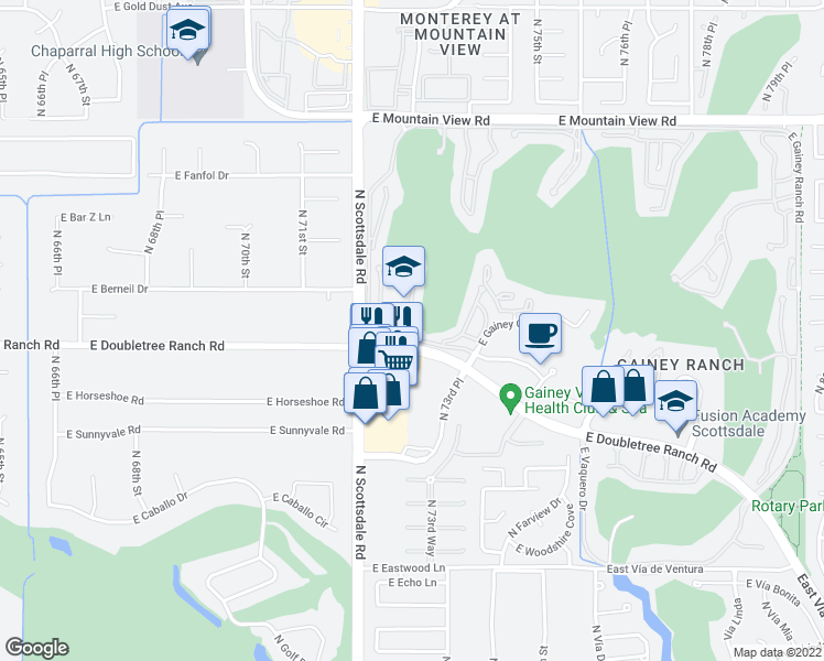 map of restaurants, bars, coffee shops, grocery stores, and more near 7272 East Gainey Ranch Road in Scottsdale