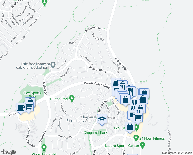map of restaurants, bars, coffee shops, grocery stores, and more near 53 Half Moon Trail in Mission Viejo