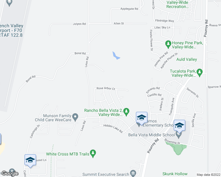map of restaurants, bars, coffee shops, grocery stores, and more near Rose Arbor Court in Murrieta