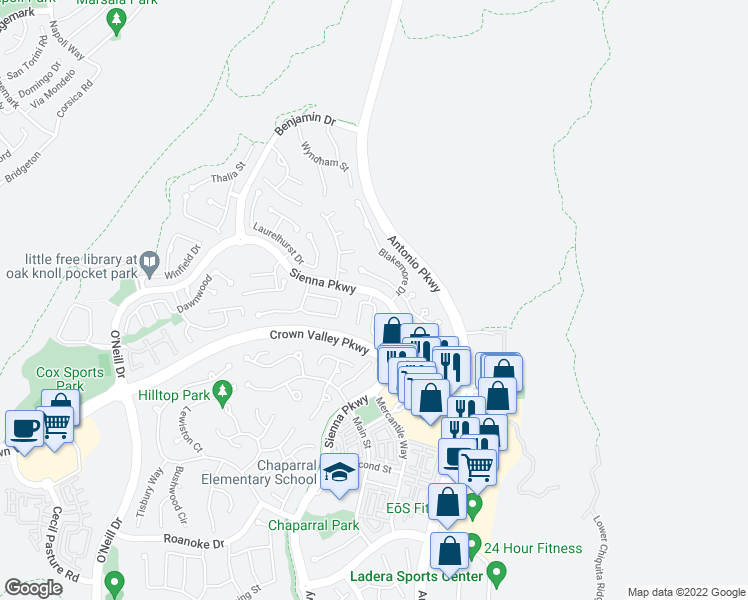 map of restaurants, bars, coffee shops, grocery stores, and more near 27 Skywood Street in Ladera Ranch