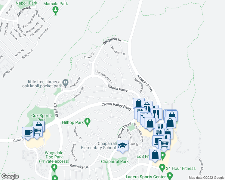 map of restaurants, bars, coffee shops, grocery stores, and more near 64 Iron Horse Trail in Ladera Ranch