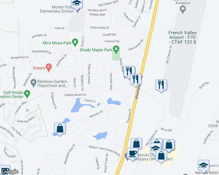 map of restaurants, bars, coffee shops, grocery stores, and more near 37981 Veranda Way in Murrieta