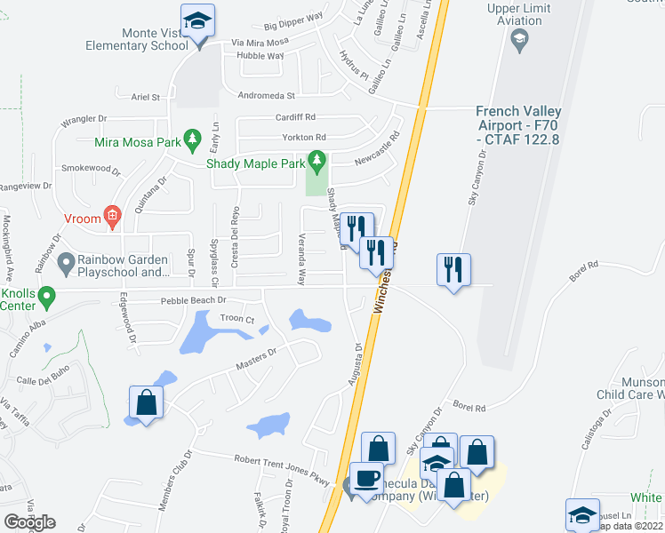 map of restaurants, bars, coffee shops, grocery stores, and more near 29847 Gardenia Circle in Murrieta