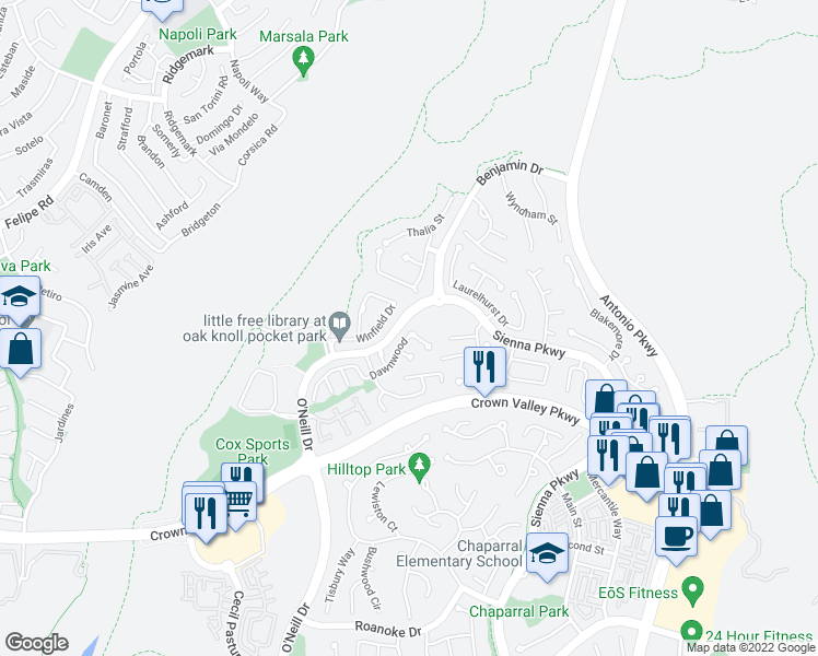 map of restaurants, bars, coffee shops, grocery stores, and more near 81 Dawnwood in Ladera Ranch