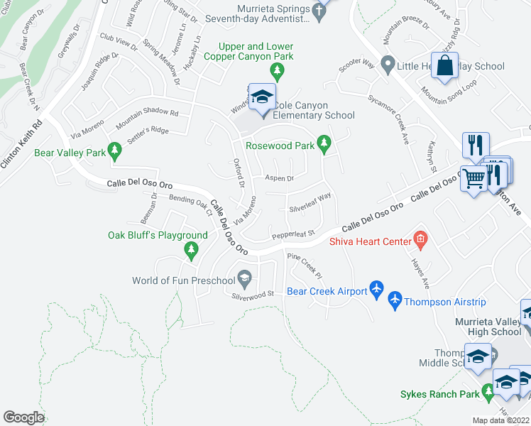 map of restaurants, bars, coffee shops, grocery stores, and more near 37876 Amberleaf Court in Murrieta