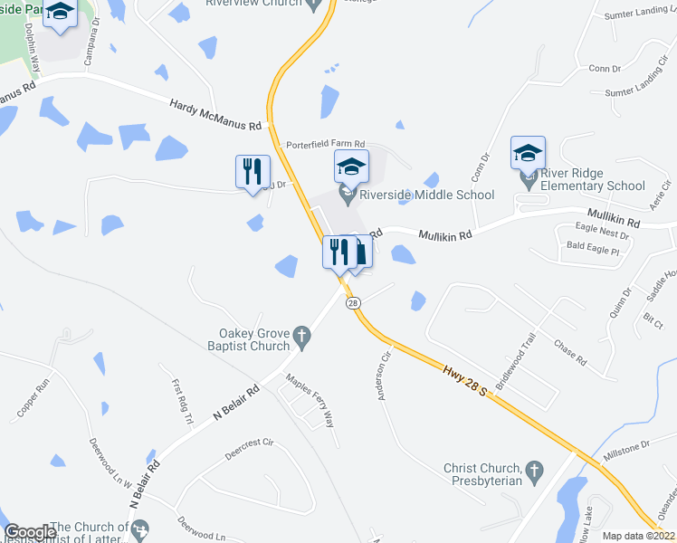 map of restaurants, bars, coffee shops, grocery stores, and more near 1100 Furys Ferry Road in Evans