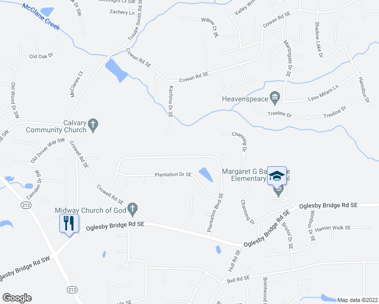 map of restaurants, bars, coffee shops, grocery stores, and more near 1062 Plantation Boulevard Southeast in Conyers