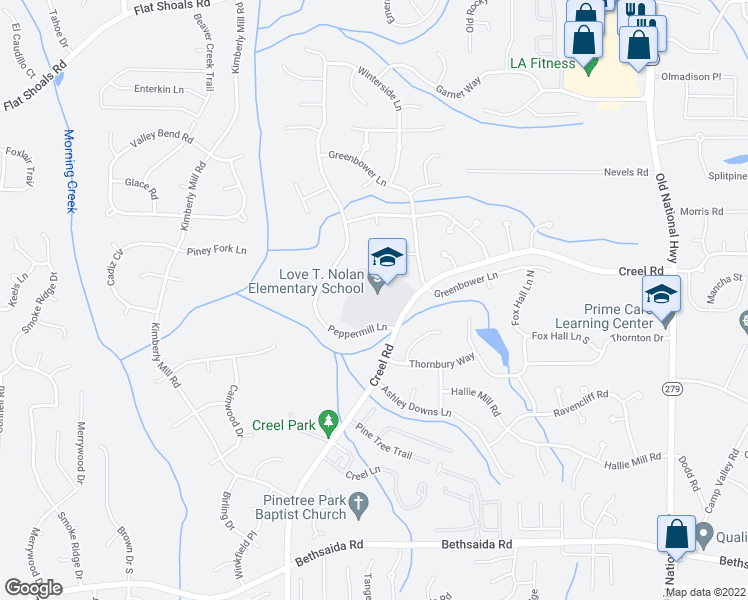 map of restaurants, bars, coffee shops, grocery stores, and more near 6770-6876 Peppermill Lane in Atlanta