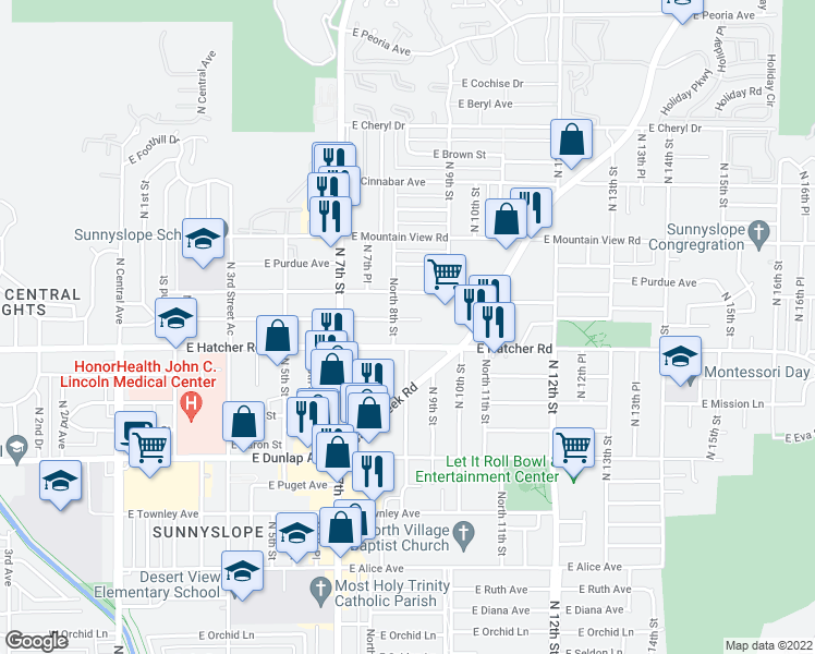 map of restaurants, bars, coffee shops, grocery stores, and more near 811 East Carol Avenue in Phoenix