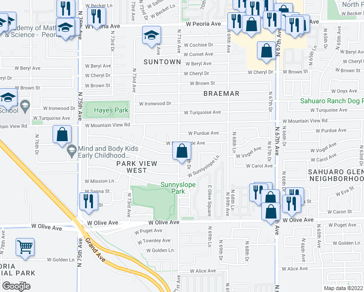 map of restaurants, bars, coffee shops, grocery stores, and more near 9623 North 71st Avenue in Peoria