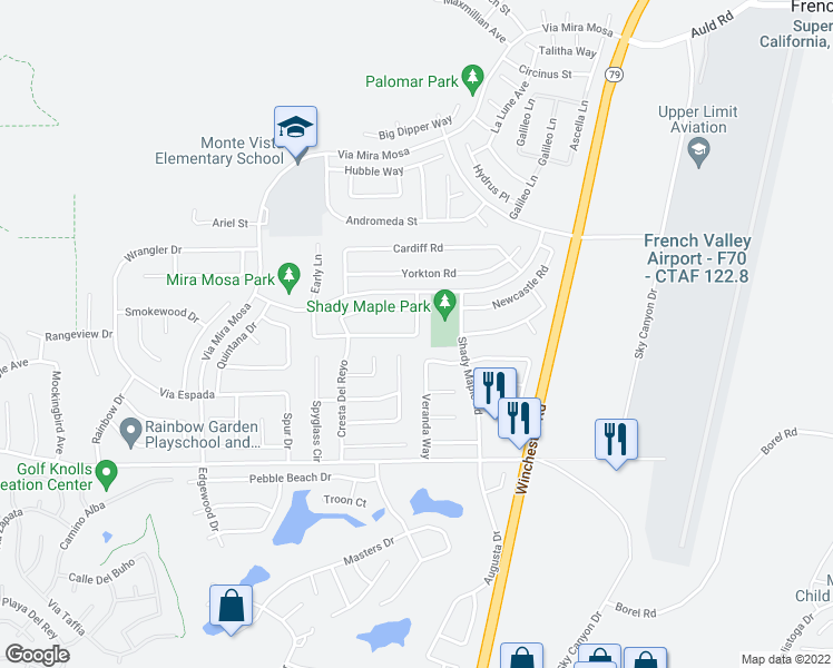 map of restaurants, bars, coffee shops, grocery stores, and more near 32321 Bristol in Murrieta