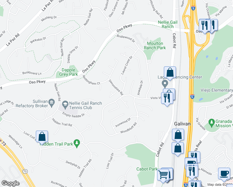 map of restaurants, bars, coffee shops, grocery stores, and more near 25656 Elm Bank Drive in Laguna Hills