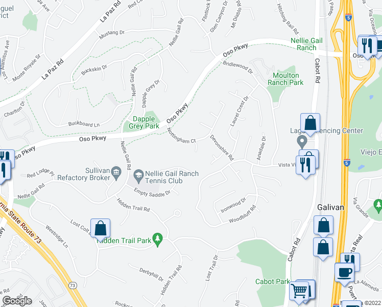 map of restaurants, bars, coffee shops, grocery stores, and more near 26821 Chelsea Lane in Laguna Hills