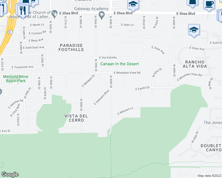 map of restaurants, bars, coffee shops, grocery stores, and more near North 40th Street in Phoenix