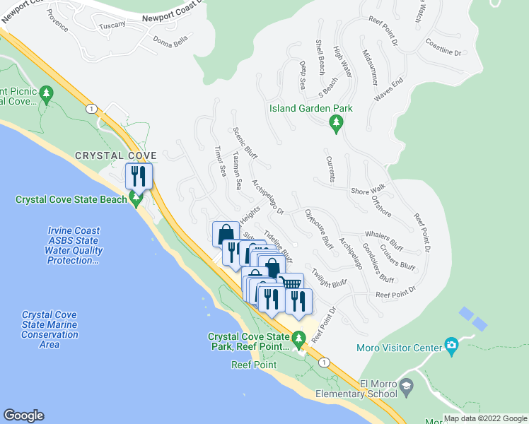 map of restaurants, bars, coffee shops, grocery stores, and more near 6 Surfspray Bluff in Newport Beach