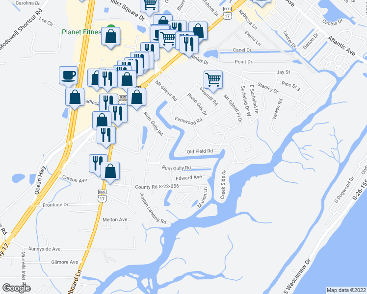 map of restaurants, bars, coffee shops, grocery stores, and more near 575 Old Field Road in Murrells Inlet