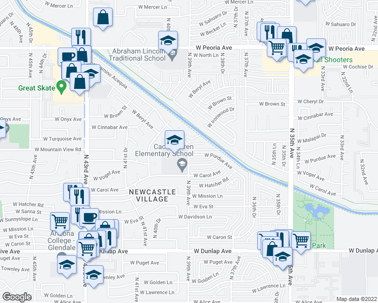 map of restaurants, bars, coffee shops, grocery stores, and more near North 39th Avenue in Phoenix