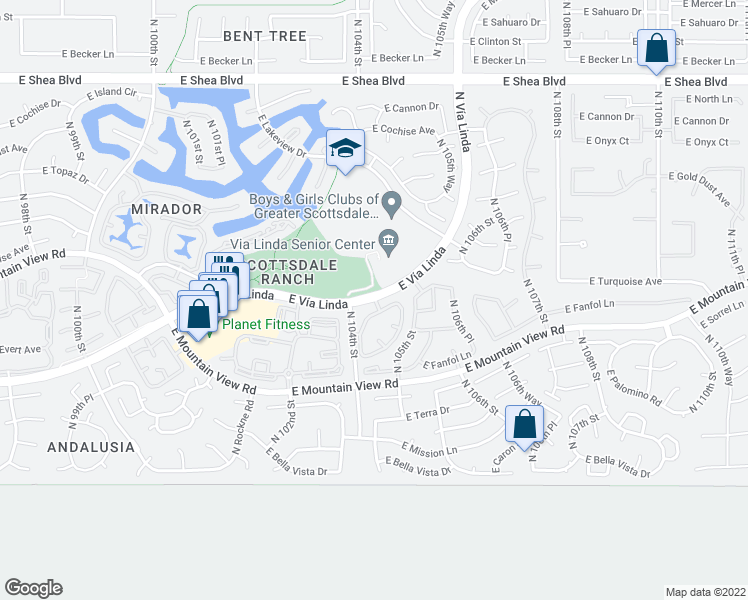 map of restaurants, bars, coffee shops, grocery stores, and more near 10455 East Vía Linda in Scottsdale