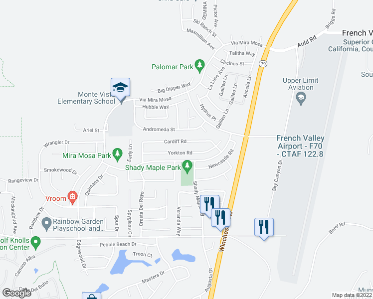 map of restaurants, bars, coffee shops, grocery stores, and more near 29794 Yorkton Road in Murrieta