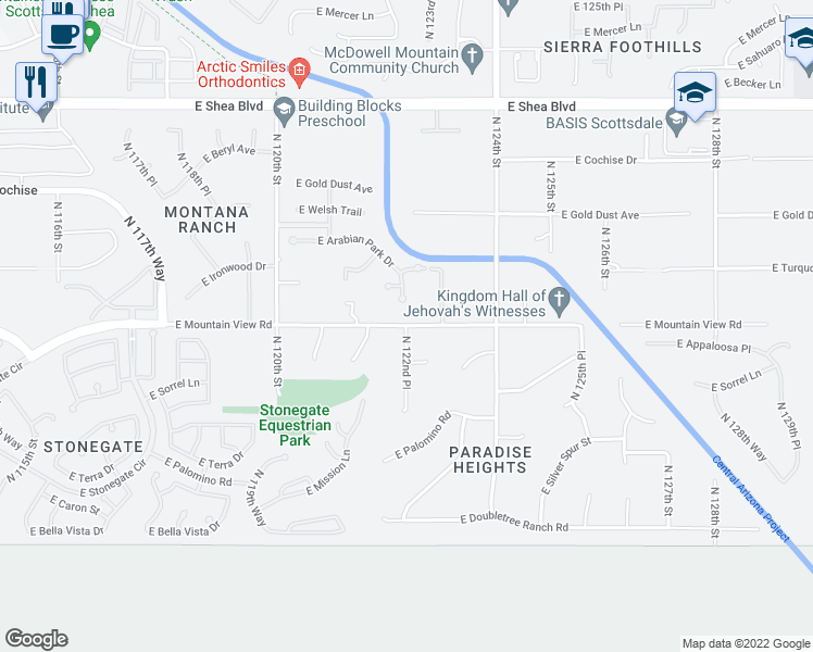 map of restaurants, bars, coffee shops, grocery stores, and more near North 122nd Place in Scottsdale