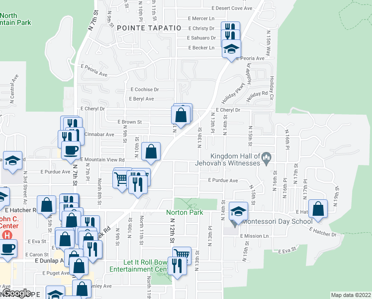 map of restaurants, bars, coffee shops, grocery stores, and more near 1222 East Mountain View Road in Phoenix