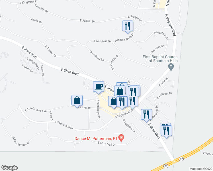 map of restaurants, bars, coffee shops, grocery stores, and more near 16718 East Shea Boulevard in Fountain Hills