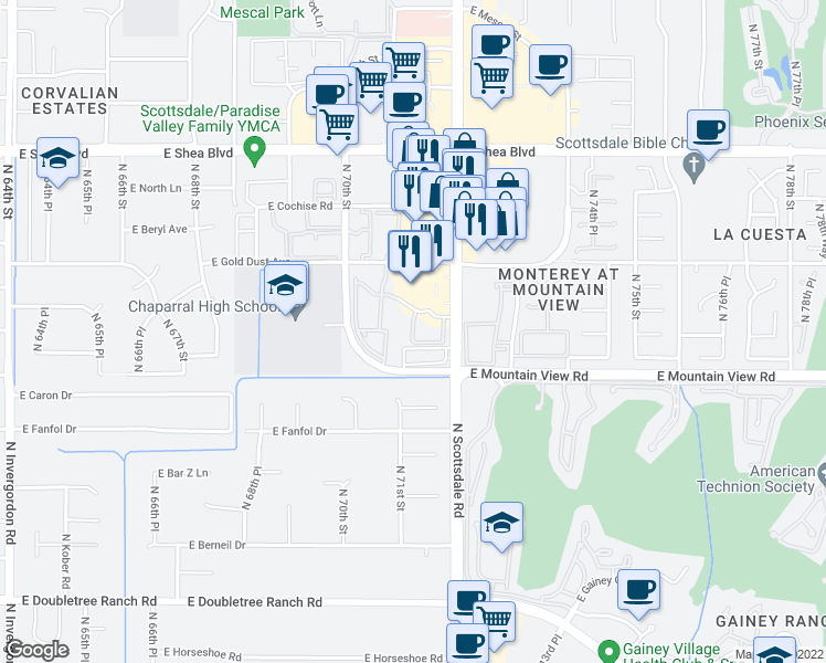 map of restaurants, bars, coffee shops, grocery stores, and more near 9990 North Scottsdale Road in Scottsdale