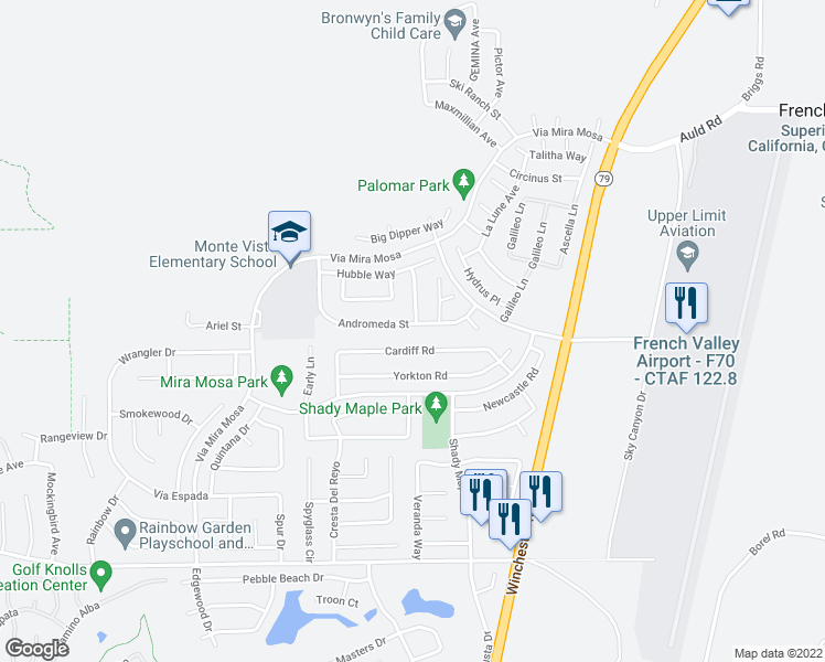 map of restaurants, bars, coffee shops, grocery stores, and more near 29723 Andromeda Street in Murrieta
